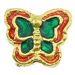 Beads bizhuteri bronzi, Tunxh, Flutur, ngjyrë ari praruar, smalt, asnjë, , nikel çojë \x26amp; kadmium falas, 12.50x11x6mm, : 2mm, 100PC/Shumë,  Shumë