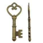 Alloy zink Pendants kyçe, Ngjyra antike bronz i praruar, asnjë, asnjë, , nikel çojë \x26amp; kadmium falas, 18x46x4mm, : 4x4mm, 270PC/KG,  KG