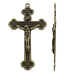 Alloy zink Pendants Kryqi, Ngjyra antike bronz i praruar, asnjë, asnjë, , nikel çojë \x26amp; kadmium falas, 28.50x50.50x3mm, : 2mm, 230PC/KG,  KG