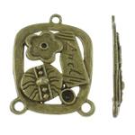 Zink Alloy Connector Setting, Alloy zink, Drejtkëndësh, Ngjyra antike bronz i praruar, 1/2 loop, asnjë, , nikel çojë \x26amp; kadmium falas, 27.50x38x3mm, : 2.5mm, 205PC/KG,  KG