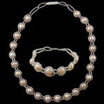 Natyrore kulturuar Pearl ujërave të ëmbla bizhuteri Sets, Pearl kulturuar ujërave të ëmbla, with Seed Glass Beads, Shape Tjera, natyror, rozë, AA, 8-9mm, : 17Inç, 7.5Inç,  I vendosur