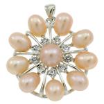 Pendants Pearl ujërave të ëmbla, Pearl kulturuar ujërave të ëmbla, with Tunxh, Lule, natyror, rozë, 31x34x9mm, : 3.5x5mm, 10PC/Qese,  Qese