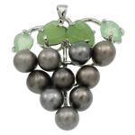 Pendants Pearl ujërave të ëmbla, Pearl kulturuar ujërave të ëmbla, with Aventurine jeshile & Tunxh, Hardhi, natyror, e zezë, 37x42x13mm, : 3.5x5mm, 10PC/Qese,  Qese