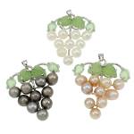 Pendants Pearl ujërave të ëmbla, Pearl kulturuar ujërave të ëmbla, with Aventurine jeshile & Tunxh, Hardhi, natyror, ngjyra të përziera, 37x42x13mm, : 3.5x5mm, 10PC/Qese,  Qese