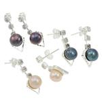 Një palë vathë Pearl ujërave të ëmbla, Pearl kulturuar ujërave të ëmbla, with Tunxh, Shape Tjera, Ngjyra argjend praruar, ngjyra të përziera, 9x23mm, 22x14x3.5cm, 36Çiftet/Kuti,  Kuti