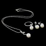 Natyrore kulturuar Pearl ujërave të ëmbla bizhuteri Sets, Pearl kulturuar ujërave të ëmbla, with Diamant i rremë & Tunxh, Shape Tjera, ngjyrë platin praruar, asnjë, 11x28.5x9mm, 20x27.5x12mm, 10x17x8.5mm, :6.5, :16.5Inç, 5Sets/Qese,  Qese