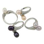 Ujërave të ëmbla Pearl Ring Finger, Pearl kulturuar ujërave të ëmbla, with Tunxh, Shape Tjera, natyror, ngjyra të përziera, 7-8mm, 22x14x3.5cm, :5, 36PC/Kuti,  Kuti