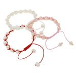 Ujërave të ëmbla Pearl Shamballa Bracelets, Pearl kulturuar ujërave të ëmbla, with Cord Wax, Shape Tjera, natyror, ngjyra të përziera, 7-8mm, :7.5Inç, 12Fillesat/Qese,  Qese