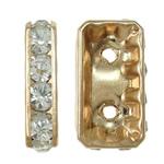 Ndarësit diamant i rremë, Tunxh, Drejtkëndësh, KC ngjyrë ari praruar, me diamant i rremë & double-vrimë, asnjë, , nikel çojë \x26amp; kadmium falas, 8.50x15.50x4mm, : 1.5mm, 10PC/Qese,  Qese