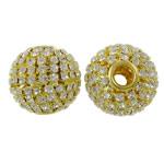 Beads bizhuteri Diamant i rremë, with Tunxh, Daulle, ngjyrë ari praruar, i uritur, asnjë, 24x22mm, : 5mm, 2PC/Qese,  Qese