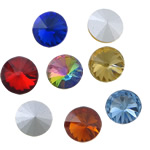 Crystal Cabochons, Flat Round, faceted, with rivoli back, real silver plated, more colors for choice, 16x16x6mm, Approx 144PCs/Bag, Sold by Bag