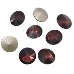 Cabochons Crystal, Kristal, Round Flat, argjend praruar vërtetë, mbrapa Rivoli, Ametist, 16x16x6mm, 144PC/Qese,  Qese