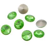 Cabochons Crystal, Kristal, Round Flat, argjend praruar vërtetë, mbrapa Rivoli, Gjelbër fier, 16x16x6mm, 144PC/Qese,  Qese