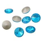 Cabochons Crystal, Kristal, Round Flat, argjend praruar vërtetë, mbrapa Rivoli, Akuamarin, 16x16x6mm, 144PC/Qese,  Qese