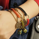 PU Cord Bracelets, with zinc alloy & acrylic, antique bronze color plated, cadmium free, mixed, 16mm, Approx 100Strands/Lot, Length:approx 20 cm, Sold by Lot