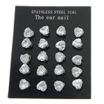 Një palë vathë Stainless Steel, 316L Stainless Steel, Zemër, asnjë, me zirconia kub, e bardhë, 7x7mm, 3Çanta/Shumë, 10Pairs/Bag,  Shumë