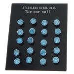Një palë vathë Stainless Steel, 316L Stainless Steel, Shape Tjera, asnjë, me zirconia kub, blu, 5x5mm, 2Çanta/Shumë, 10Pairs/Bag,  Shumë