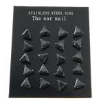 Një palë vathë Stainless Steel, 316L Stainless Steel, Trekëndësh, asnjë, me zirconia kub, e zezë, 3x3mm, 5Çanta/Shumë, 10Pairs/Bag,  Shumë