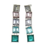 Crystal Zinc Alloy Earring, dangle earring, with iron post, platinum color plated, nickel, lead & cadmium free, 10x54x6mm, Sold by Pair