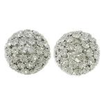 Beads bizhuteri Diamant i rremë, with Tunxh, Daulle, Ngjyra argjend praruar, i uritur, e bardhë, 35x33mm, : 5.5mm, 2PC/Qese,  Qese