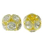 Beads bizhuteri Diamant i rremë, Tunxh, Daulle, ngjyrë ari praruar, me diamant i rremë & i uritur, asnjë, , nikel çojë \x26amp; kadmium falas, 15x12mm, : 4.5mm, 10PC/Qese,  Qese