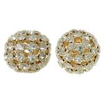 Beads bizhuteri Diamant i rremë, with Tunxh, Daulle, ngjyrë ari praruar, i uritur, asnjë, 21x19mm, : 3.5mm, 2PC/Qese,  Qese
