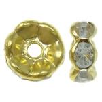 Beads Spacer tunxh, Petull e ëmbël në formë gjevreku, ngjyrë ari praruar, me diamant i rremë, asnjë, , nikel çojë \x26amp; kadmium falas, 8x3.5mm, : 1mm, 100PC/Qese,  Qese
