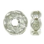 Beads Spacer tunxh, Petull e ëmbël në formë gjevreku, Ngjyra argjend praruar, me diamant i rremë, asnjë, , nikel çojë \x26amp; kadmium falas, 6x3mm, : 1mm, 100PC/Qese,  Qese