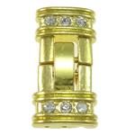 Zink Alloy bizhuteri kapje, Alloy zink, Drejtkëndësh, ngjyrë ari praruar, 3-fije floku & me diamant i rremë, asnjë, , nikel çojë \x26amp; kadmium falas, 12x24.50x4mm, : 1mm, 10PC/Qese,  Qese