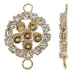 Connector tunxh Setting, Round Flat, KC ngjyrë ari praruar, me diamant i rremë & 1/1 loop, asnjë, , nikel çojë \x26amp; kadmium falas, 16x24x3mm, : 2mm, 10PC/Qese,  Qese