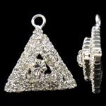 Tunxh, Trekëndësh, Ngjyra argjend praruar, me diamant i rremë, asnjë, , nikel çojë \x26amp; kadmium falas, 18x19x6mm, : 2mm, 10PC/Qese,  Qese