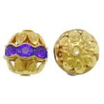 Beads bizhuteri bronzi, Tunxh, Daulle, ngjyrë ari praruar, me diamant i rremë & i uritur, asnjë, , nikel çojë \x26amp; kadmium falas, 10x11mm, : 1.5mm, 100PC/Qese,  Qese