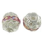 Beads bizhuteri bronzi, Tunxh, Daulle, Ngjyra argjend praruar, me diamant i rremë & i uritur, asnjë, , nikel çojë \x26amp; kadmium falas, 6x6.5mm, : 1mm, 100PC/Qese,  Qese