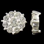 Beads Alloy zink Lule, Ngjyra argjend praruar, me diamant i rremë & double-vrimë, asnjë, , nikel çojë \x26amp; kadmium falas, 15x6mm, : 2mm, 10PC/Qese,  Qese