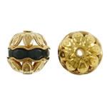 Beads bizhuteri bronzi, Tunxh, Round, ngjyrë ari praruar, me diamant i rremë & i uritur, asnjë, , nikel çojë \x26amp; kadmium falas, 10mm, : 1mm, 100PC/Qese,  Qese