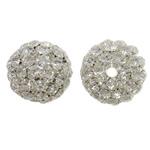 Beads bizhuteri Diamant i rremë, Tunxh, Daulle, Ngjyra argjend praruar, me diamant i rremë & i uritur, asnjë, , nikel çojë \x26amp; kadmium falas, 40x36mm, : 6.5mm, 2PC/Qese,  Qese