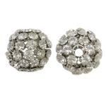 Beads bizhuteri Diamant i rremë, Tunxh, Daulle, ngjyrë platin praruar, me diamant i rremë & i uritur, asnjë, , nikel çojë \x26amp; kadmium falas, 36x35mm, : 7mm, 2PC/Qese,  Qese
