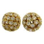 Beads bizhuteri Diamant i rremë, Tunxh, Daulle, ngjyrë ari praruar, me diamant i rremë & i uritur, asnjë, , nikel çojë \x26amp; kadmium falas, 19x20mm, : 2mm, 2PC/Qese,  Qese