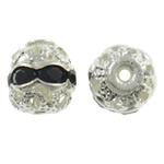 Beads bizhuteri bronzi, Tunxh, Round, Ngjyra argjend praruar, me diamant i rremë & i uritur, asnjë, , nikel çojë \x26amp; kadmium falas, 6mm, : 1mm, 100PC/Qese,  Qese