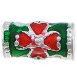 Beads tunxh Tube, Ngjyra argjend praruar, smalt, asnjë, , nikel çojë \x26amp; kadmium falas, 11x6mm, : 3.5mm, 250PC/Shumë,  Shumë