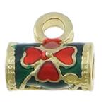 Beads Beil tunxh, Tub, ngjyrë ari praruar, smalt, asnjë, , nikel çojë \x26amp; kadmium falas, 11.50x11.50mm, : 3mm, 3.5mm, 250PC/Shumë,  Shumë