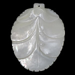 White Shell Pendants, Leaf, carved, 33x43x6mm, Hole:Approx 1MM, Sold by PC