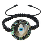 Evil Eye Connector Shamballa Bracelets, nylon cord with abalone & black & white shell & resin connector & glass, 30x30x2.5mm, Sold per approx 9 Inch Strand