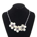 Necklaces Shell, White Shell, with Pearl kulturuar ujërave të ëmbla, Lule, ngjyrë platin praruar, asnjë, asnjë, 52x52x16mm, 5-6mm, 18x18mm, :18Inç, 3Fillesat/Shumë,  Shumë
