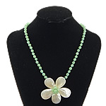 Necklaces Shell, White Shell, with Aventurine jeshile, Lule, ngjyrë platin praruar, asnjë, asnjë, 65x65x18mm, 6mm, 14x14mm, :19Inç, 5Fillesat/Shumë,  Shumë