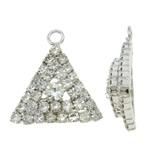 Tunxh, Trekëndësh, ngjyrë platin praruar, me diamant i rremë, asnjë, , nikel çojë \x26amp; kadmium falas, 18x20x6mm, : 2mm, 10PC/Qese,  Qese