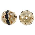 Beads bizhuteri bronzi, Tunxh, Daulle, KC ngjyrë ari praruar, me diamant i rremë & i uritur, asnjë, , nikel çojë \x26amp; kadmium falas, 8x11mm, : 1.5mm, 100PC/Qese,  Qese