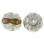 Tunxh, Round, Ngjyra argjend praruar, me diamant i rremë & i uritur, asnjë, , nikel çojë \x26amp; kadmium falas, 8mm, : 1mm, 100PC/Qese,  Qese