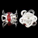 Strass Messing Perlen, Blume, silberfarben plattiert, mit Strass, frei von Nickel, Blei & Kadmium, 11x7mm, Bohrung:ca. 0.5mm, 10PCs/Tasche, verkauft von Tasche