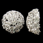 Bizhuteri tunxh Gjetja, Lule, Ngjyra argjend praruar, me diamant i rremë & i uritur, asnjë, , nikel çojë \x26amp; kadmium falas, 18.5x9mm, 10PC/Qese,  Qese